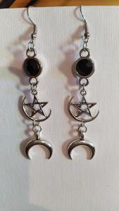 Visací gothic náušnice pentagram a měsíc - gothic, metal, rock