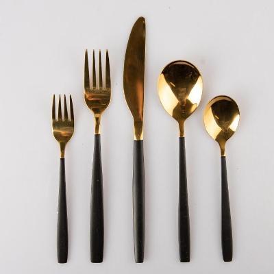Sada jídelních příborů /KOMPLET SET- 30 ks / Gold/Black /Od 1 koruny