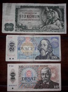 Neperforované bankovky 20Kčs,vzácná série E,10Kčs a 100Kčs