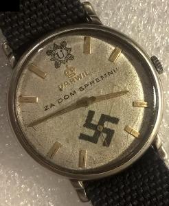 Hodinky svastika a Ustaski simbol Waffen SS Handjar? 36x41mm Funkcni