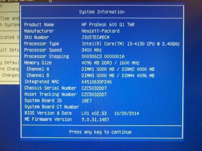 HP ProDesk 600 G1 TWR, i3 4130, 4GB DDR3, 500 GB HDD, W10 od 1,- Kč!!!